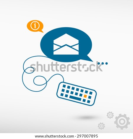 Open envelope icon and keyboard on chat speech bubbles. Line icons for application and creative process. - stock vector