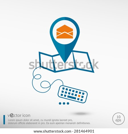 Open envelope icon and pin on the map. Line icons for application development, creative process. - stock vector