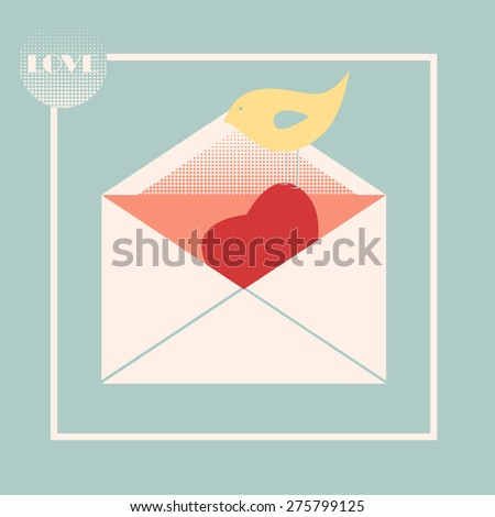 Open envelope with a heart in it and a little bird on it - stock vector