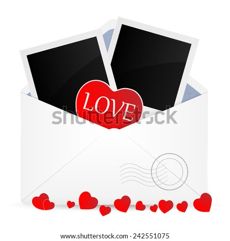 Open envelope with photo frame and heart. Vector illustration.  - stock vector