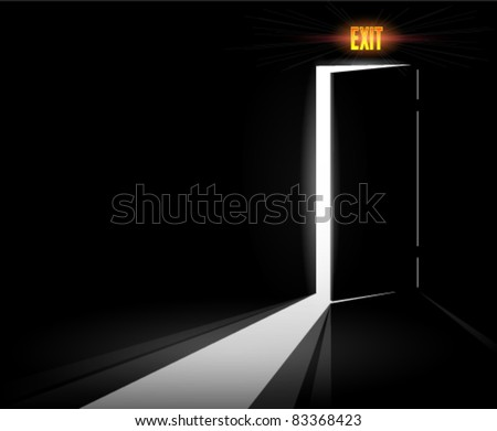 Open Exit Door - stock vector