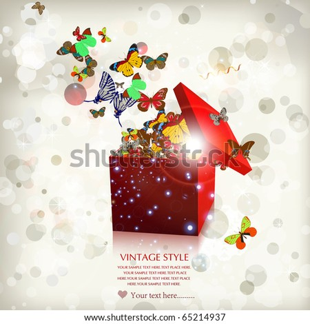Open explore gift-butterfly - stock vector