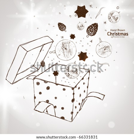 Open explore gift with fly snowflakes, balls and stars - stock vector