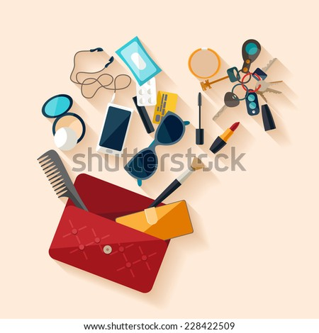 Open female bag. Flat design. - stock vector