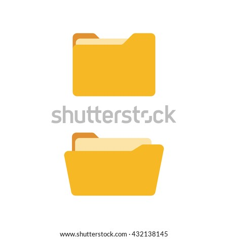 Open folder and close folder. Yellow folders with documents. Folders icons isolated on white background. Vector set - stock vector
