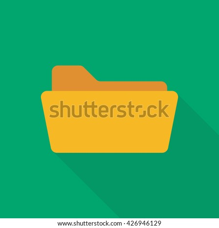 Open folder. Folder without documents. Yellow folder isolated on green background. Icon with long shadow - stock vector