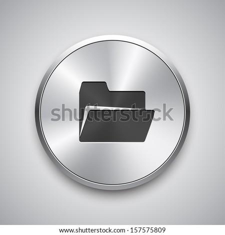Open folder icon on metal button. Vector. - stock vector