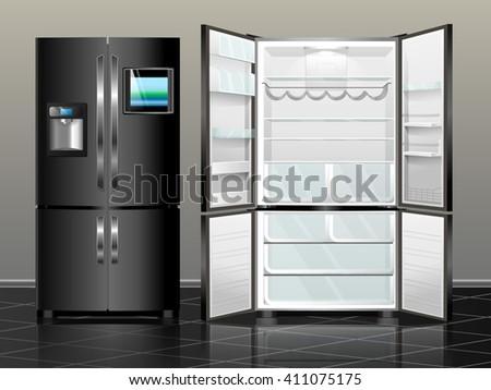 Open fridge. Closed fridge. Vector illustration black modern fridge of the interior. - stock vector