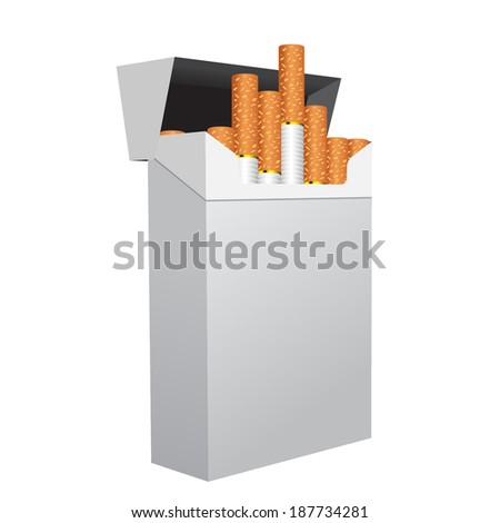 Open full pack of cigarettes isolated on white background  - stock vector