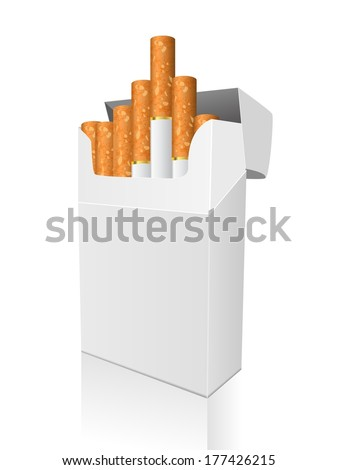 Open full pack of cigarettes isolated vector - stock vector