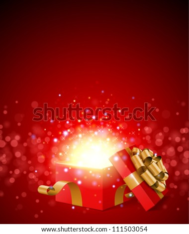 Open gift and light fireworks christmas vector background.