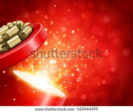 Open gift box and magic light fireworks Christmas vector background.  - stock vector