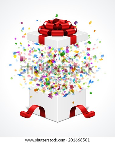 Open gift box and with red bow and ribbon vector illustration. Fireworks sparkles and confetti.  - stock vector