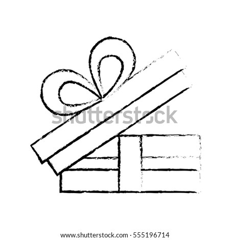 Open Gift Box Bow Ornament Celebration Sketch Vector Illustration Eps 10
