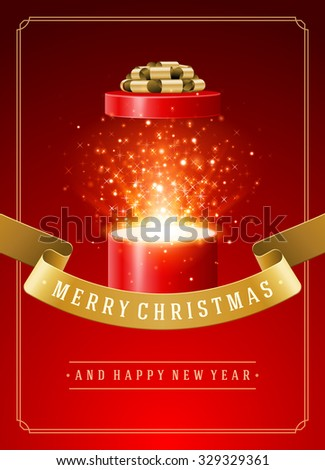 Open Gift Box Magic Light fireworks and Christmas Wish vector background.  - stock vector