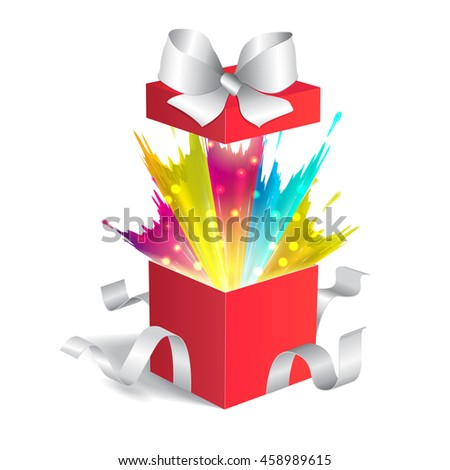 Open gift box with a splash. Magic box
