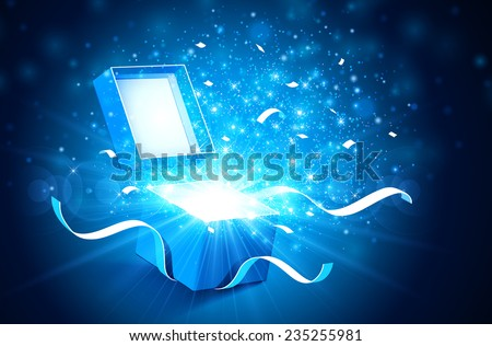 Open gift box with bright rays of light - stock vector