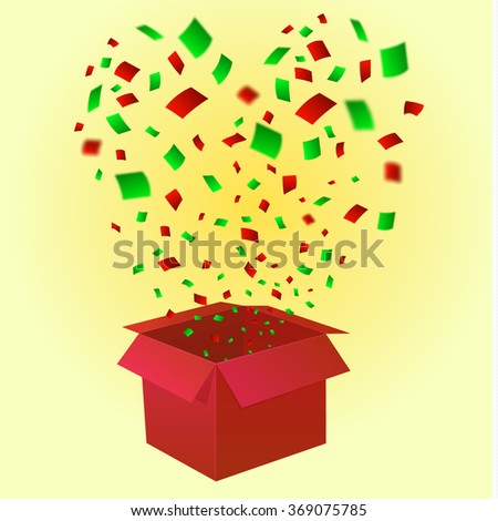 Open gift box with fireworks from confetti in heart shape. VECTOR illustration. Red gift box - stock vector