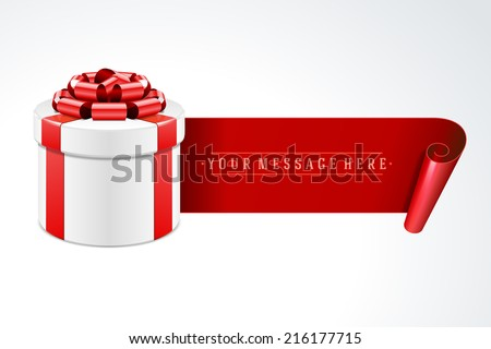 Open gift box with red bow and ribbon vector background. - stock vector