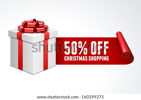 Open gift box with red bow isolated on white. Sale 50% off. Vector illustration eps 10.  - stock vector