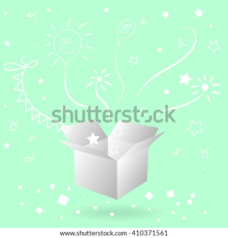open gift box with surprise. Magic gift box.  Big gift box full of toys, sketchy doodles. Vector illustration - stock vector
