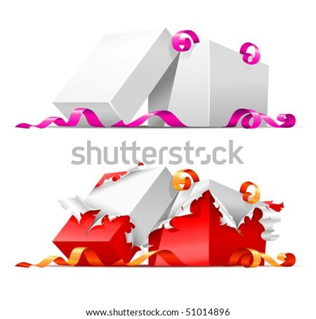 open gift boxes with ribbon vector illustration, isolated on white background - stock vector