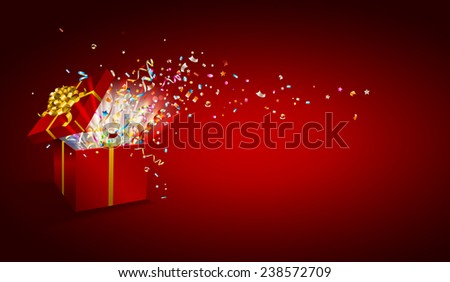 Open gift with fireworks from confetti. Congratulations on holiday. Border design. Vector background for promotions and offers.
