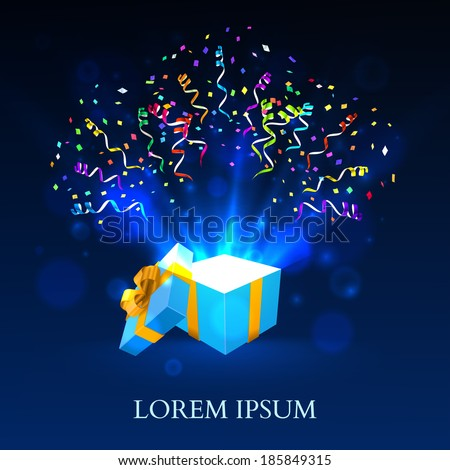 Open gift with fireworks from confetti vector background - stock vector