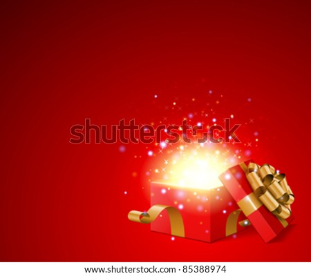 Open gift with fireworks from light vector background. Eps 10