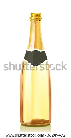 Open glass bottle with gold Champagne wine (serie of images) - stock vector