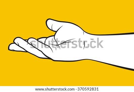 Open hand begging - stock vector