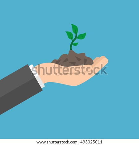 Open hand holds young sprout on blue background. Care, new life and success concept. Flat design. Vector illustration. EPS 8, no transparency