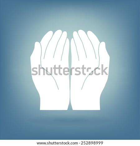 Open hand icon - stock vector