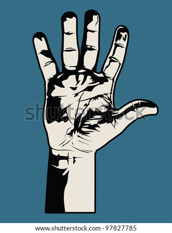 Open Hand. This is a vector graphic of an open hand. It was saved as an .eps 10 file and does not contain any gradients or transparencies. - stock vector