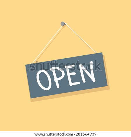 Open hanging sign isolated, vector illustration