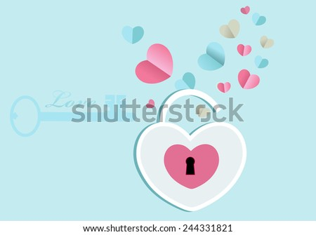 Open heart lock with emerging hearts key to left side with copyspace - stock vector
