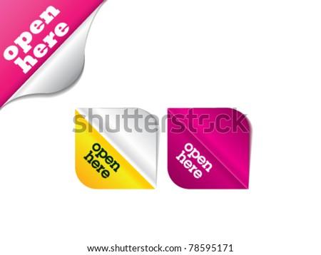 Open here / vector illustration / package design - stock vector