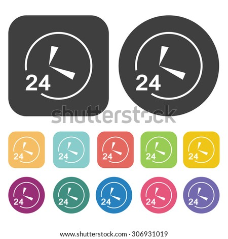 open 24 hours clock icons set. Vector Illustration eps10 - stock vector