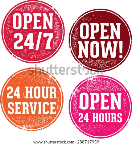 Open 24 Hours Service Stamps - stock vector
