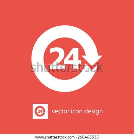 open 24 hours vector icon - stock vector