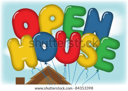 Open House Balloons in Blue Sky over a House Rooftop Postcard - stock vector