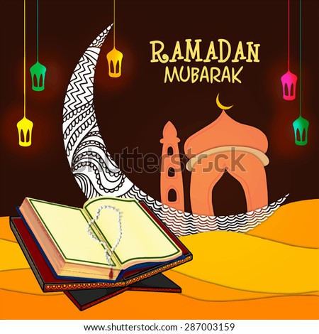 Open Islamic religious book Quran Shareef with rosary in front of floral crescent moon and mosque on colorful lanterns decorated background. - stock vector