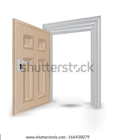 open isolated doorway frame vector illustration - stock vector