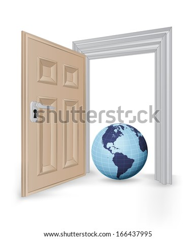open isolated doorway frame with America globe vector illustration - stock vector