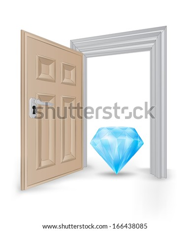 open isolated doorway frame with blue diamond vector illustration - stock vector