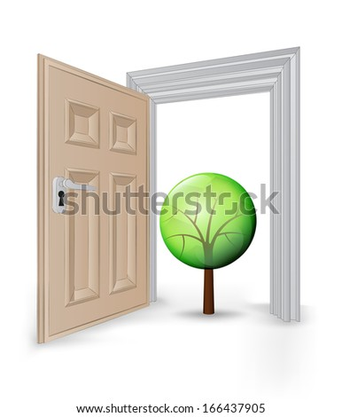 open isolated doorway frame with leafy tree vector illustration - stock vector