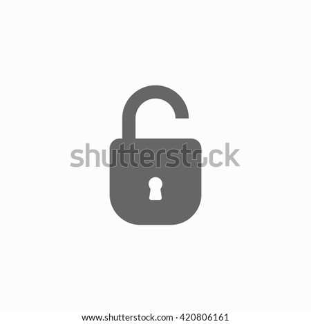 Open lock flat icon. Silhouette lock. Monochrome lock isolated on background. Vector lock - stock vector