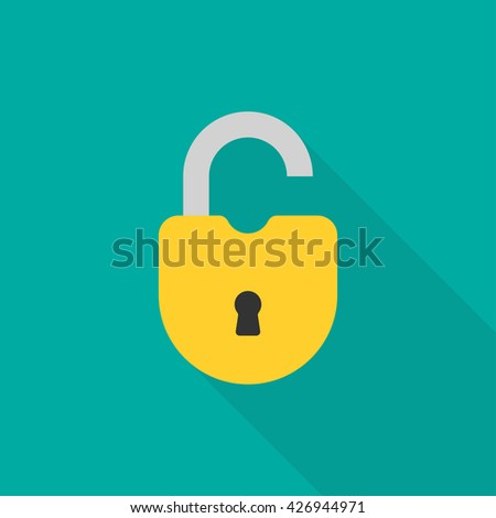 Open lock flat icon. Silhouette lock. Yellow lock isolated on background