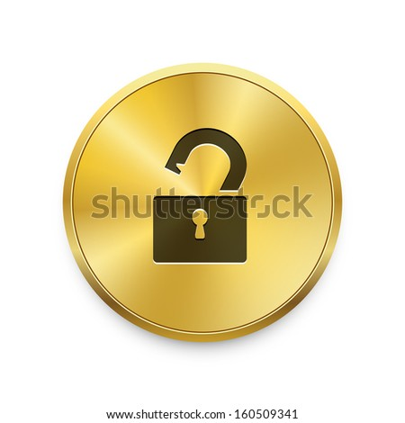 Open lock icon on metal golden button. Vector background.  - stock vector
