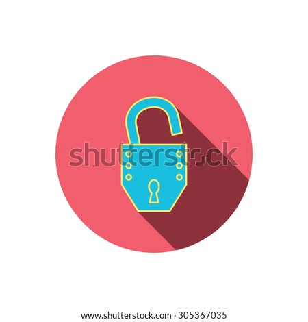 Open lock icon. Padlock or protection sign. Password symbol. Red flat circle button. Linear icon with shadow. Vector